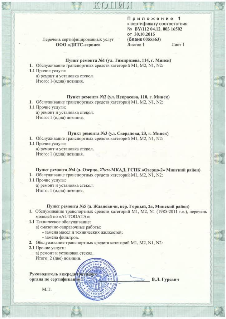 сертификат соответствия 2 ООО Дитс-сервис